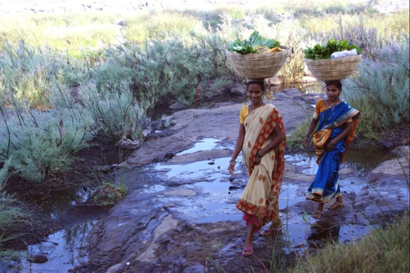 Women carrying vegetables over the Thane River